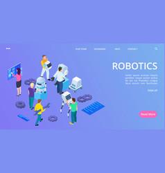 isometric robotics landing page people building vector image