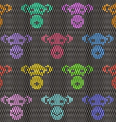 Knitted Seamless Pattern with Monkey Faces vector image