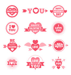 labels and badges for valentine day love symbols vector image