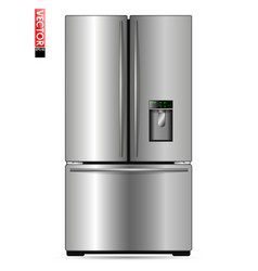 Large double-wing refrigerator with metal coating vector
