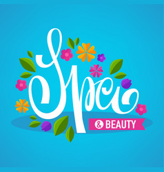 leaves and flower spa lettering composition vector image