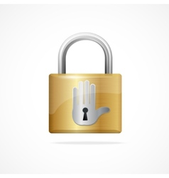 Locked padlock gold and keyhole vector