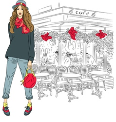 Lovely fashion girl on background paris vector