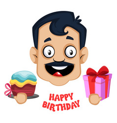 man is saying happy birthday on white background vector image