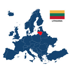 Map of europe with highlighted lithuania vector