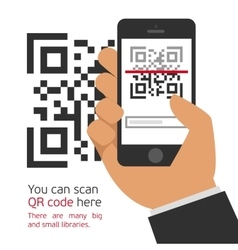 Mobile phone reads qr code vector