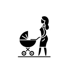 mom with a baby carriage black icon sign vector image