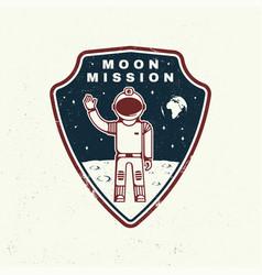 Moon mission logo badge shirt t design print vector