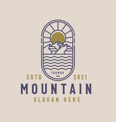 mountain lineart logo template vintage concept vector image