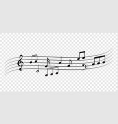 music notes staff decorative flow background vector image