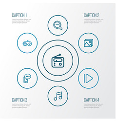 Music outline icons set collection of musical vector