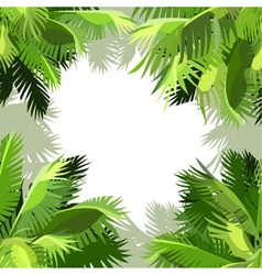 Painted background of green palm leaves vector