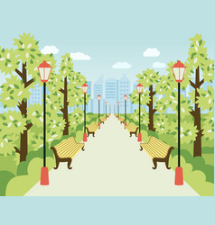 Park alley with lanterns benches and green trees vector