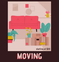 Poster moving to new home concept vector