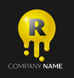 r letter splash logo yellow dots and bubbles vector image