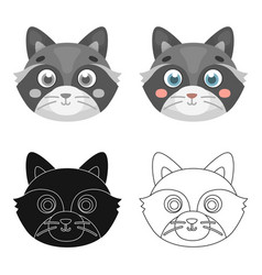 Raccoon muzzle icon in cartoon style isolated on vector