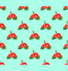 red hollyhock on green mint background vector image