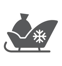 Santa sleigh glyph icon sledge and winter vector