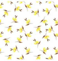 Seamless Pattern With Cute Yellow Flower Branches Vector Image