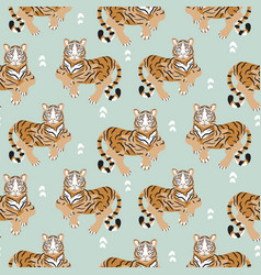 Seamless pattern with tiger on green background vector