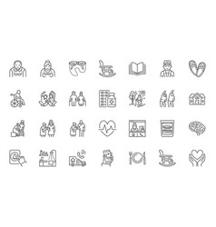 senior people flat line icons set old man and vector image