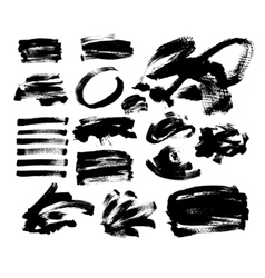 Set of 20 black ink hand drawing brushes vector