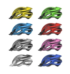Set of Colorful Bike Helmets vector image