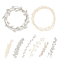 Set of decorative doodle wreaths vector image