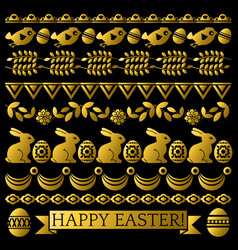 set of golden easter lace paper with flower vector image