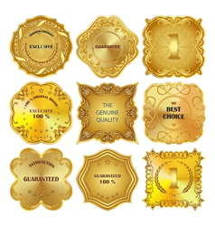 Set of golden metal design elements on white vector image