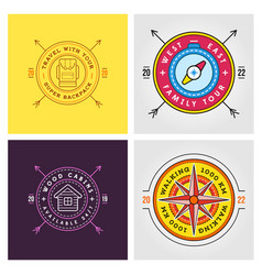Set summer camp badges concept for shirt or vector