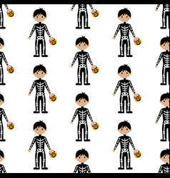 skeleton halloween costume pattern vector image