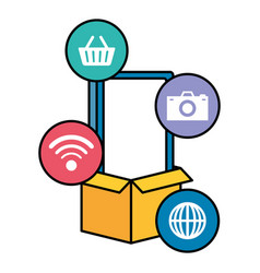 smarphone device with ecommerce icons vector image