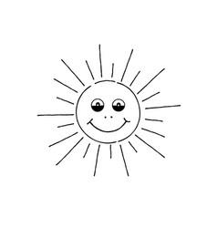 smiling sun cartoon summer holiday sign happy vector image