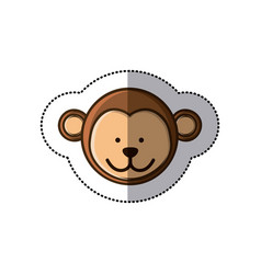 Sticker colorful picture face cute monkey animal vector