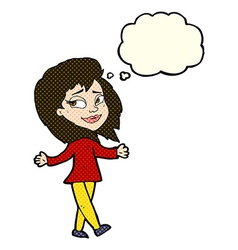 Stress free woman cartoon with thought bubble vector