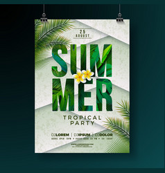 summer party flyer design with flower and vector image