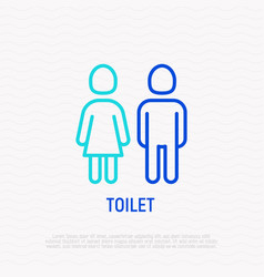 toilet sign wc thin line icon vector image