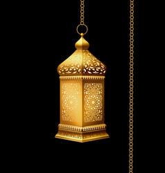 traditional arabian lantern with lighting vector image