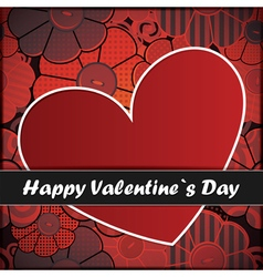 valentine day card with heart and flowers vector image vector image