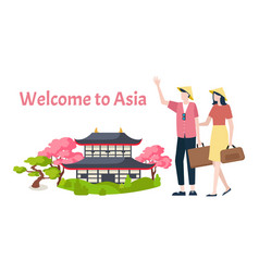 Welcome to asia travelers greeting chinese area vector