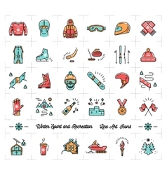 Winter sport outline icons recreation and fun vector image