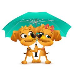 yellow dog loving couple holding an umbrella vector image vector image