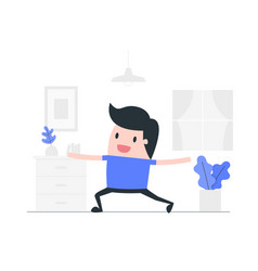 Young man doing yoga at home vector