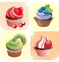 colorful cupcakes vector image vector image