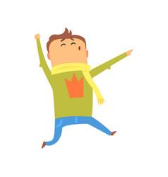 cute happy surprised cartoon man jumping colorful vector image