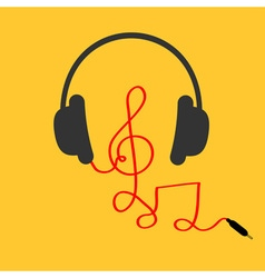 Headphones with treble clef note red cord Music vector image vector image