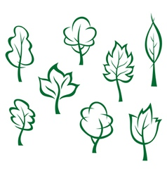 Icons and symbols of green trees vector image vector image