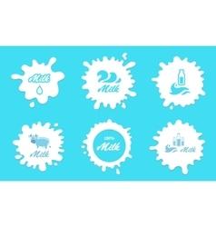 Milk splashes labels or logos elements vector image vector image