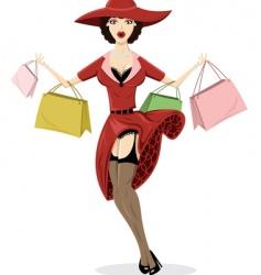 shopping pin up illustration vector image vector image